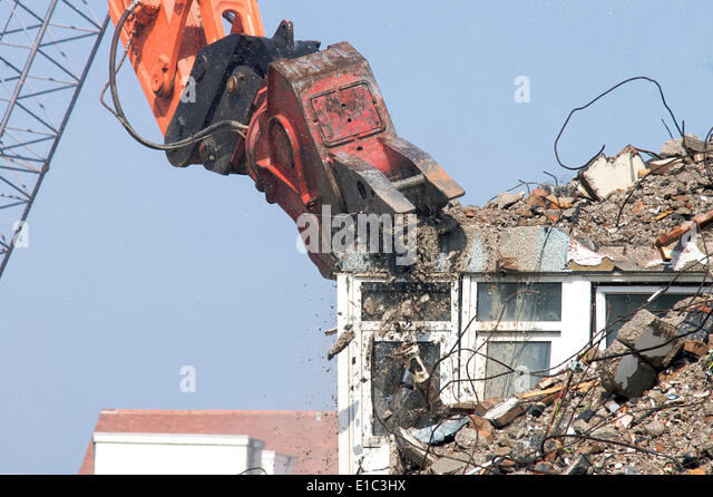 High Rise Demolition : Rubble crusher stock photos images