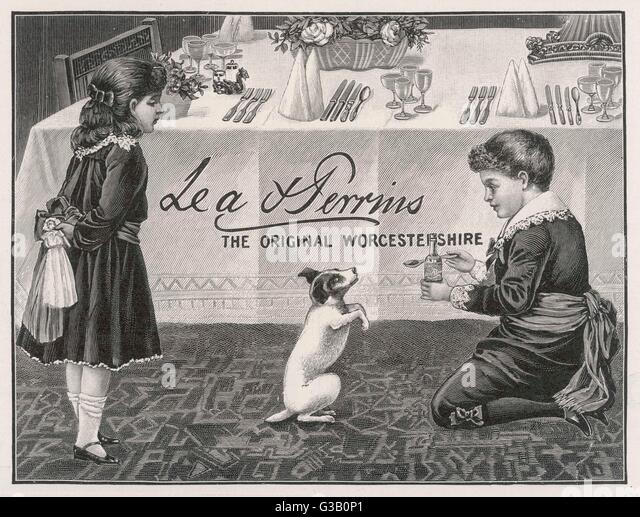 Two Children Tempt A Small Dog With A Spoon Of Lea Amp Perrins Original Worcestershire