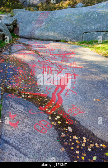 Tanum rock carvings sweden stock photos
