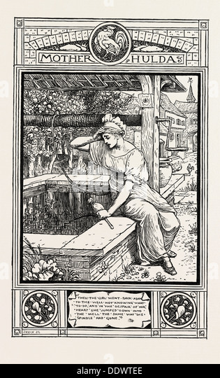 mother hulda from grimms household stories engraving 1882 stock image