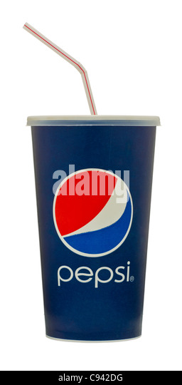 pepsi soda cup with straw