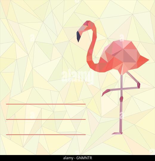 Flamingo bird heart stock photos flamingo bird heart stock card template with polygonal flamingo stock image pronofoot35fo Images