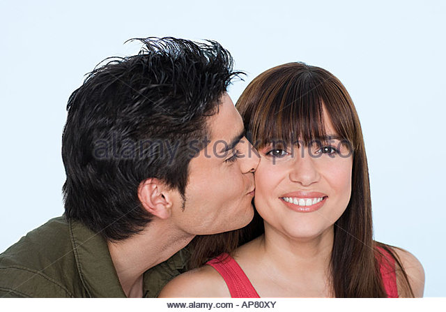 Woman Kissing Man Cheek Stock Photos Amp Woman Kissing Man Cheek Stock Images Alamy