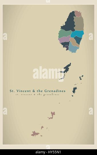 Saint Vincent Grenadines Political Map Stock Photos Saint Vincent