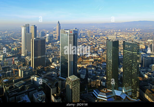 View from Maintower to Financial District, Frankfurt am Main, Hesse, Germany, Europe - Stock Image