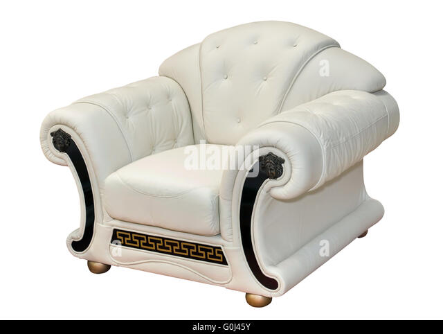 Vintage White Leather Armchair Isolated   Stock Image