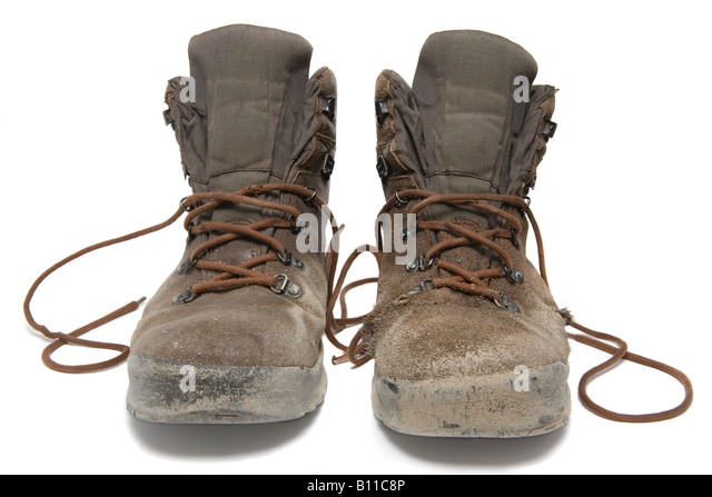 Pair Used Hiking Boots Over Stock Photos & Pair Used Hiking Boots ...