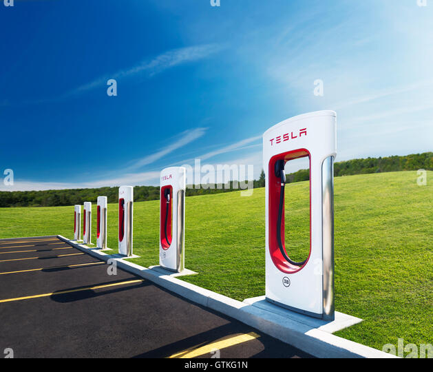 Electric Supercharger Australia: Tesla Car Charging Station Stock Photos & Tesla Car