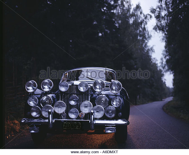 Vintage Automobile Front Center With One Headlight : Classic car front headlights on stock photos