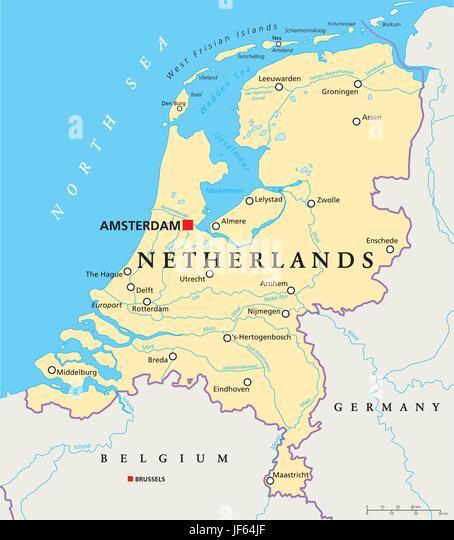 Holland Country Map Stock Photos Holland Country Map Stock - Amsterdam country map