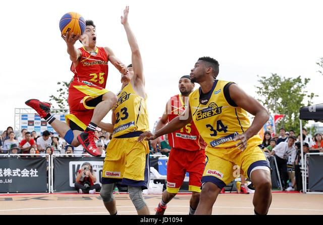Tokyo, Japan. 17th June, 2017. (L-R) Konosuke Tanaka (ALBORADA), Toru Kikuchi, Kyle Richardson (BREX.EXE) Basketball - Stock Image