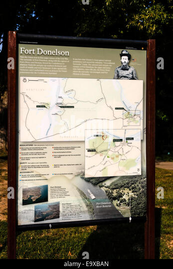 Visitor Map Sign Of Fort Donelson National Battlefield Tennessee Stock Image
