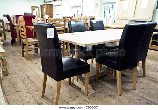 Interior Of A Furniture Showroom Selling Dining Table U0026 Chairs, UK.   Stock  Image