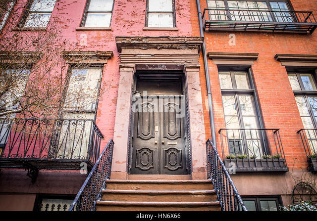 brick apartment building entrance. Typical Entrance door to a New York City apartment building residential  home Stock Image Apartment Building Photos