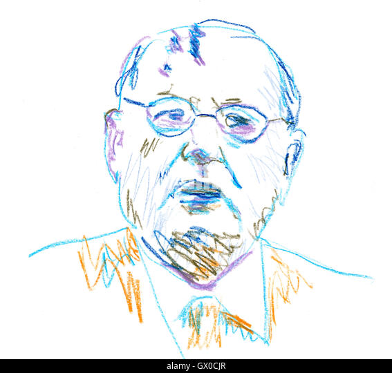 mikhail gorbachev in color pencil drawing stock image