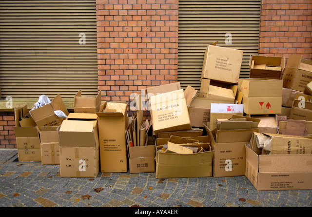 cardboard box on street. pile cardboard boxes litter waste packaging street empty rubbish environment stock image box on c