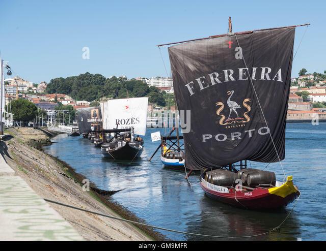Barcos Rabelos Traditional Wooden Boats On The River Douro Vila Nova De Gaia