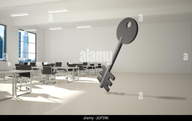 Conceptual background image of concrete key sign in modern office interior - Stock Image