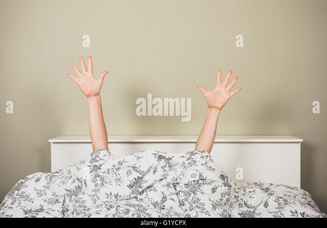 woman duvet stock photos woman duvet stock images alamy. Black Bedroom Furniture Sets. Home Design Ideas
