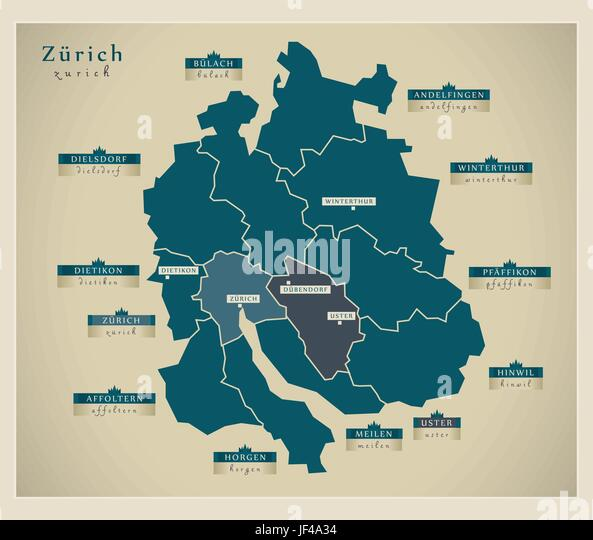 modern map - zurich ch - Stock Vector