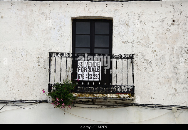 wrought iron balcony and window with for sale sign casares cadiz province andalucia - Window Frames For Sale
