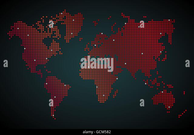 World map dots stock photos world map dots stock images alamy abstract computer graphic world map of round dots vector illustration stock image gumiabroncs Choice Image