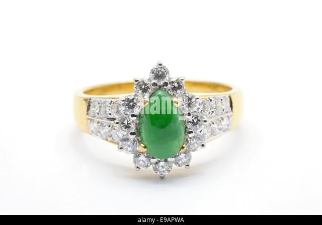 jade diamond wedding ring stock image - Jade Wedding Ring