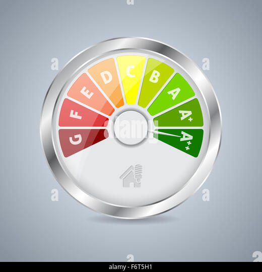 Energy Class Gauge Design With House Icon   Stock Image