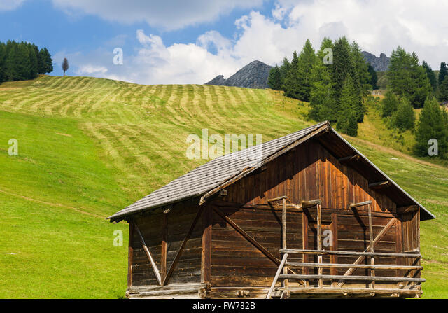 wooden hut near mountain - photo #13