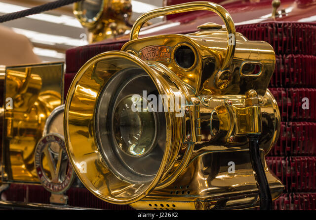 Antique Brass Car Headlights : Brass headlamp stock photos images