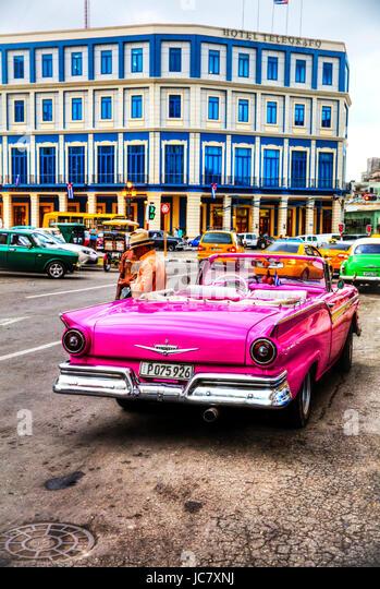 Ford Fairlane Automobile Model In Cuba Cuban Car Havana Pink Cabriolet Front
