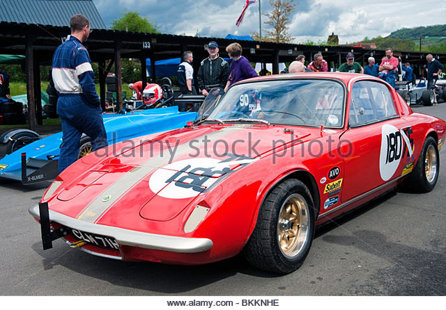 lotus elan 2 in the paddock at shelsley walsh hill climb worcestershire uk