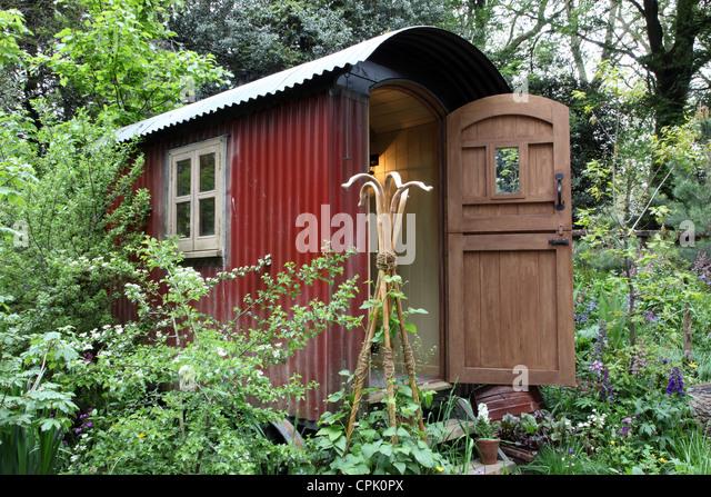 The Plankbridge Shepherds Hut Garden, Artisan Garden At The Chelsea Flower  Show 2012   Stock
