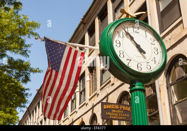 Clock And American Flag Outside Durgin Park Restaurant, Faneuil Hall  Marketplace, Boston, Massachusetts Part 84