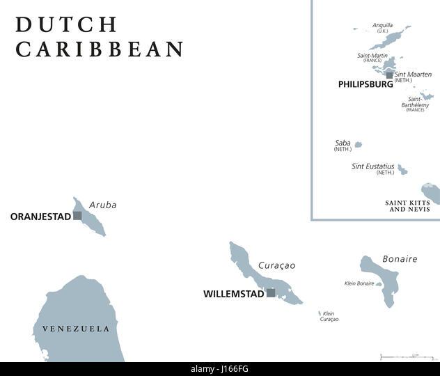 Dutch Caribbean Political Map Aruba Stock Photos Dutch Caribbean - Netherlands antilles aruba political map