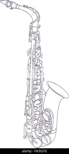 alto saxophone drawing on white vector stock image