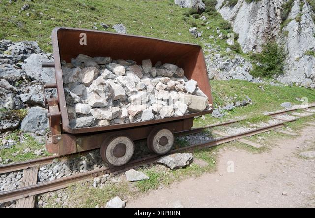 Wooden coal cart stock photos