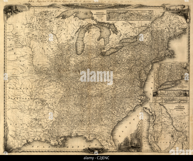 Travelers Map Of The United States 1846 Stock Image