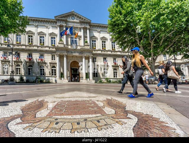 Hotel de Ville,Place de Horloge,  Cobble Stone Mosaic, Avignon, Bouche du Rhone, France - Stock Image