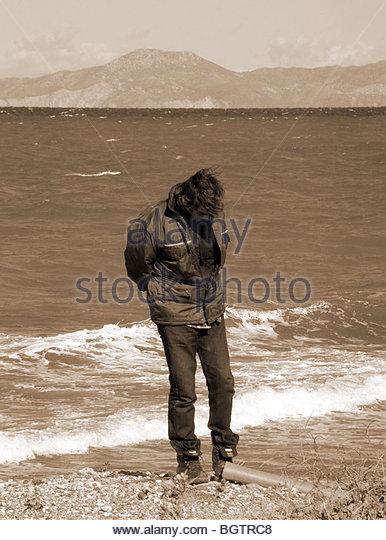 Old Man Seaside Black And White Stock Photos & Old Man Seaside Black ... Old English Sheepdog Kent