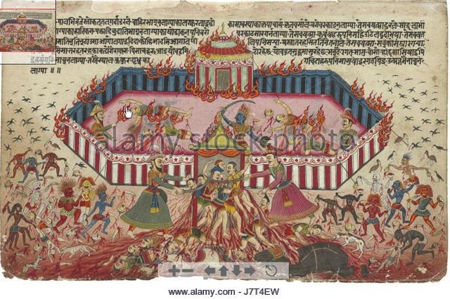 An illustration from the Mahabharata 1 - Stock Image