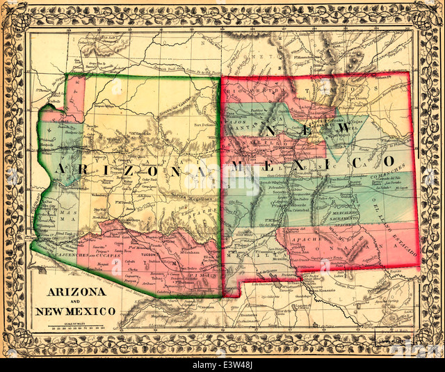 Arizona Mexico Map Stock Photos Arizona Mexico Map Stock Images - Map of arizona and new mexico