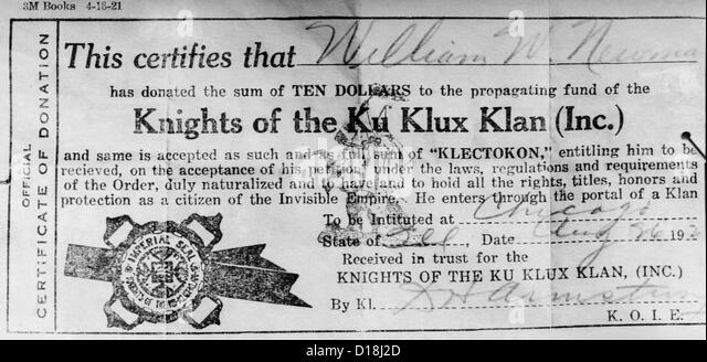 ku klux stock photos ku klux stock images alamy ku klux klan certificate of membership made out to william w newman one of