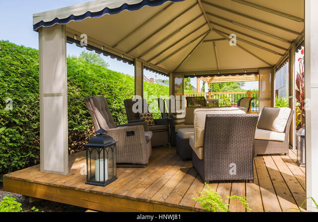Garden seat decking stock photos garden seat decking for Outdoor furniture quebec