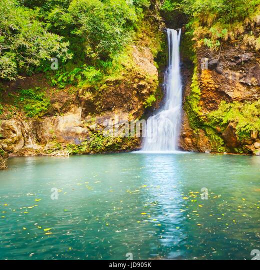 Scenic Cascade Chamouze waterfall. Mauritius island - Stock Image