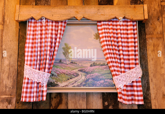 Red gingham curtains
