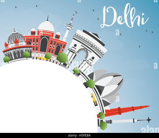 India delhi skyline stock photos india delhi skyline for Space arch delhi