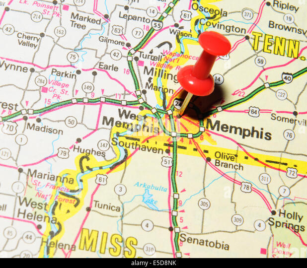 Memphis Pinned On Map Usa Stock Photos Memphis Pinned On Map Usa