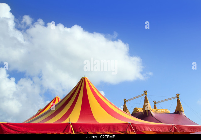 Circus tent red orange and yellow stripped pattern blue sky - Stock Image  sc 1 st  Alamy & Circus Tent Stock Photos u0026 Circus Tent Stock Images - Alamy