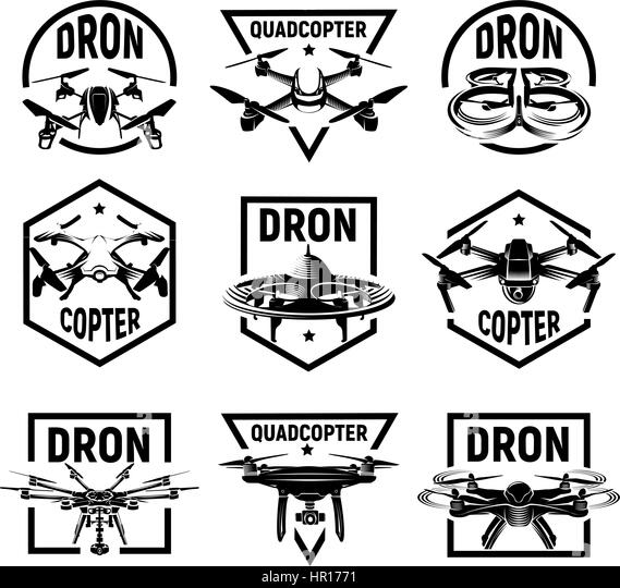 Isolated Monochrome Quadcopter Icons In Frames Rc Drone Logos Collection Fpv Device Logotype Set